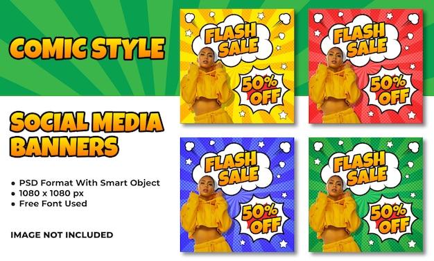 Banery sprzedaż flash dla mediów społecznościowych w komiksowym stylu Premium Psd