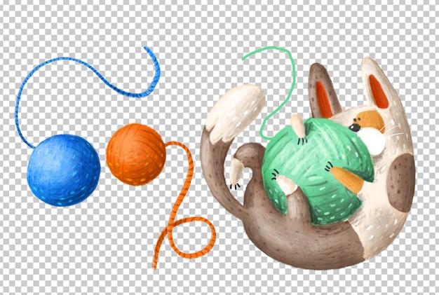 Bawić Się Kot Ręka Rysującą Ilustrację Premium Psd
