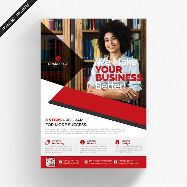 Biała Biznesowa Ulotka Z Czerwonymi Detalami Premium Psd