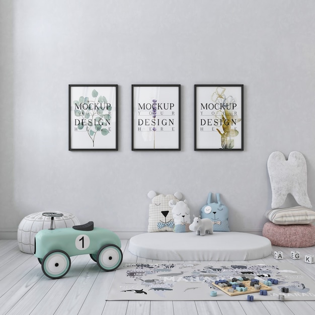 Biała Prosta Sypialnia Dziecięca Ze Zdjęciami Makiet W Ramce Premium Psd