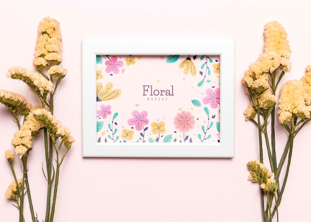 Biała Ramka Z Układem Kwiatów Darmowe Psd