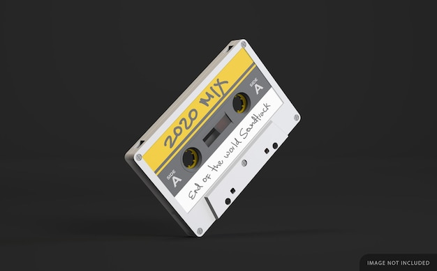 Biała Retro Kaseta Magnetofonowa Makieta Z Etykietą Premium Psd