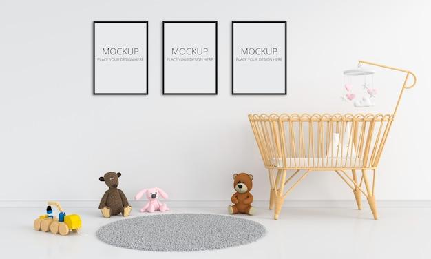 Biała Sypialnia Dziecięca Z Makietą Ramy Premium Psd