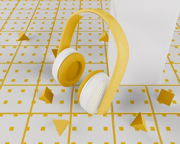 Białe I żółte Minimalistyczne Słuchawki Bezprzewodowe Darmowe Psd