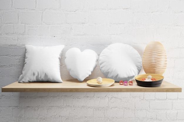 Białe Miękkie Poduszki Na Drewnianej Półce Darmowe Psd