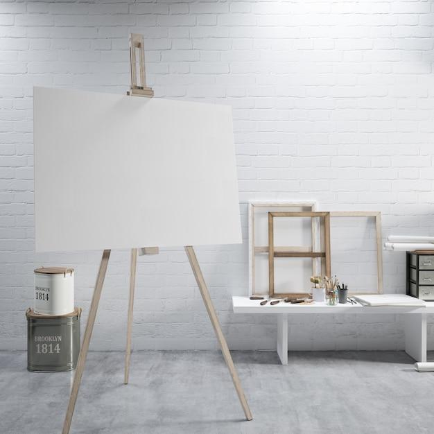 Białe Płótno Na Sztaludze W Pokoju Sztuki Darmowe Psd