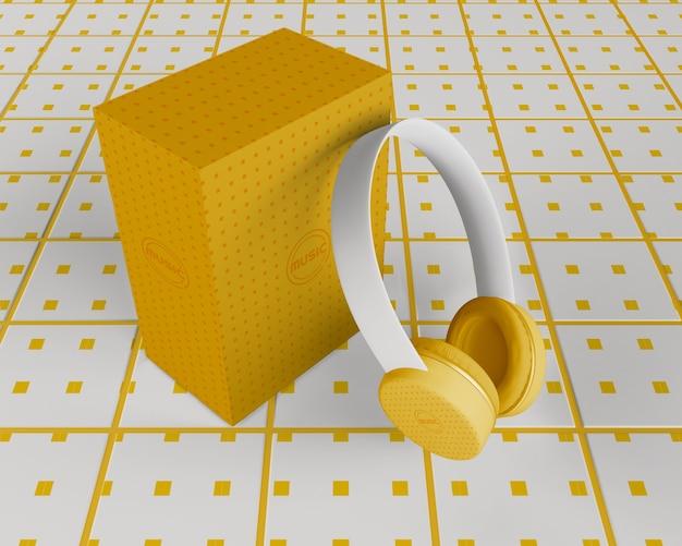 Biało-żółte Minimalistycznie Zaprojektowane Słuchawki Darmowe Psd
