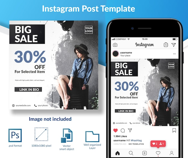 Big sale fashion sale rabat social media post szablon Premium Psd