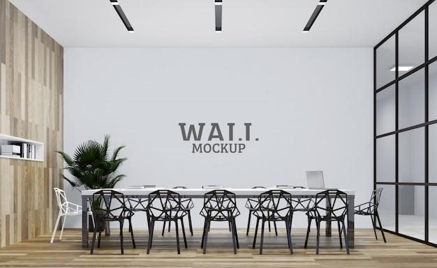 Biuro Ma Podświetloną Drewnianą ścianę. Makieta ścienna Premium Psd