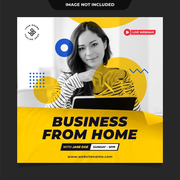 Biznes Z Domu Szablon Postu W Mediach Społecznościowych Premium Psd