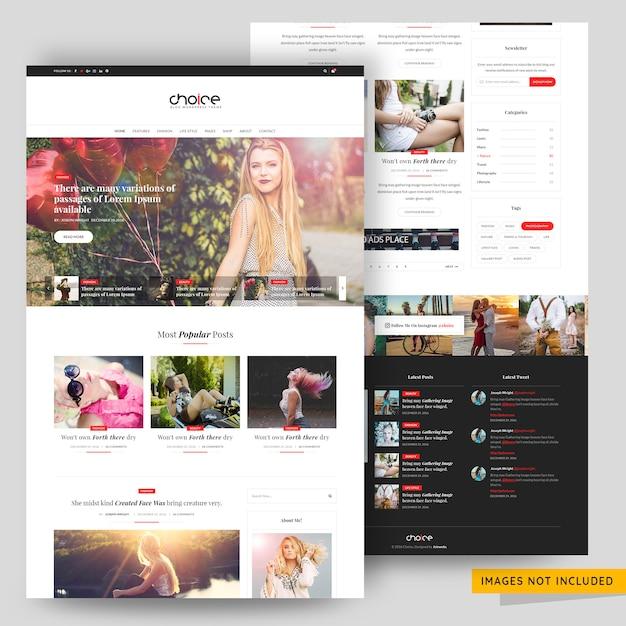 Blog o modzie i urodzie premium szablon psd Premium Psd