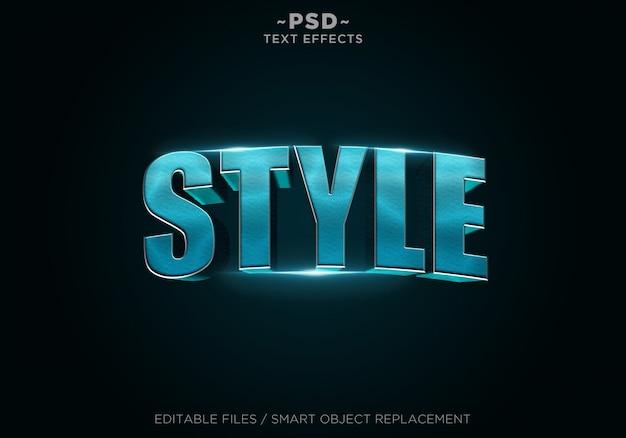 Blue Metal Style Efekty Tekst Edytowalny Premium Psd