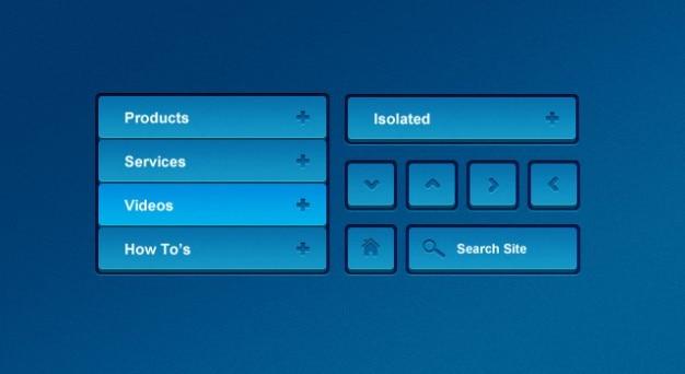 Blue nawigacji menu ui kit Darmowe Psd