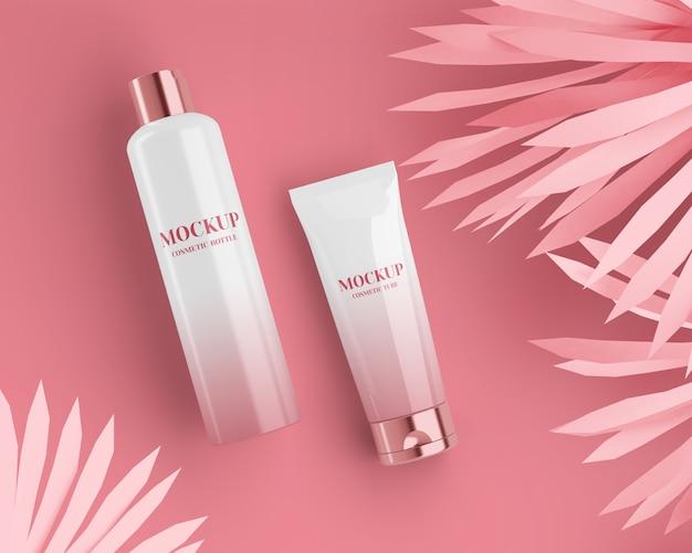 Błyszcząca Tuba Kosmetyczna I Butelka Ze Złotymi Nakrętkami Premium Psd