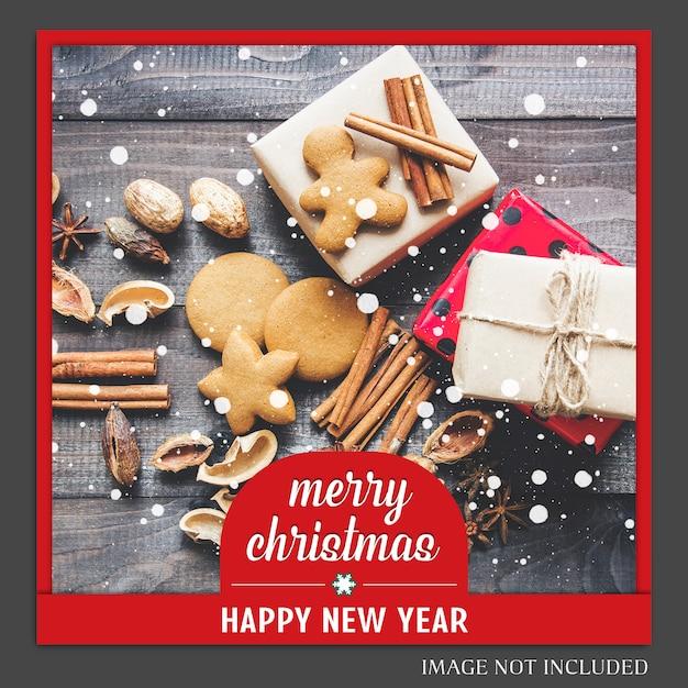 Boże narodzenie i szczęśliwego nowego roku 2019 makieta zdjęć i instagram post szablon dla medi społecznych Premium Psd