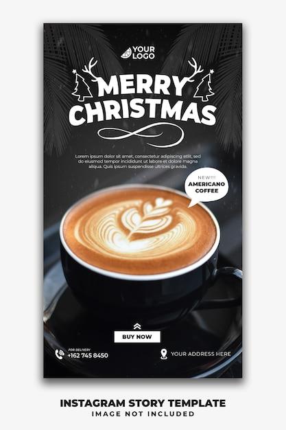Boże Narodzenie Instagram Stories Szablon Dla Menu Restauracji Jedzenie Kawy Premium Psd