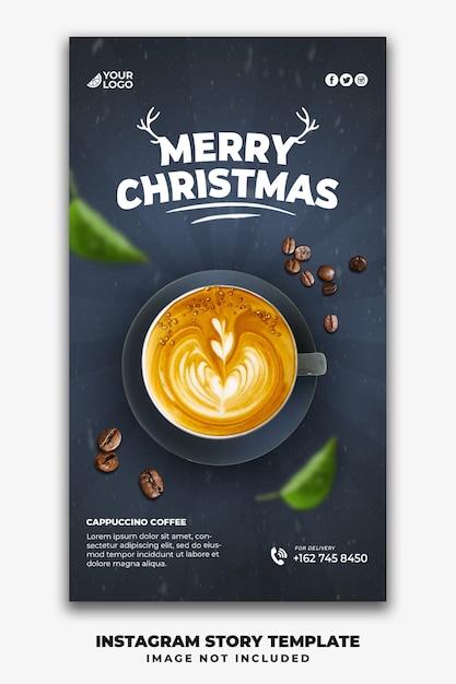 Boże Narodzenie Instagram Stories Szablon Dla Menu Restauracji Jedzenie Pić Kawę Premium Psd