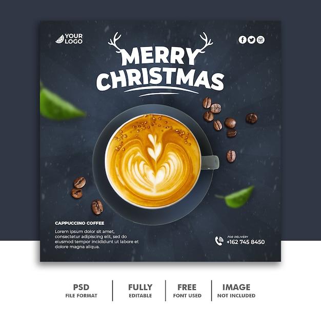 Boże Narodzenie Szablon Postu W Mediach Społecznościowych Dla Menu Drinka Premium Psd