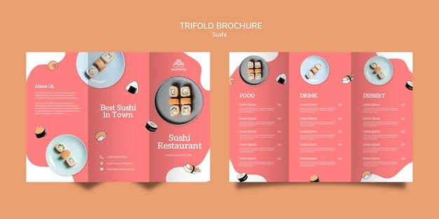 Broszura Potrójna Restauracja Sushi Darmowe Psd