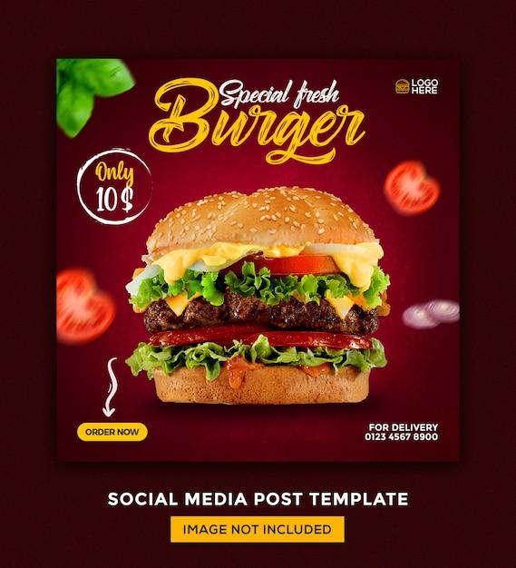Burger Food Menu I Szablon Projektu Postu W Mediach Społecznościowych Restauracji Premium Psd