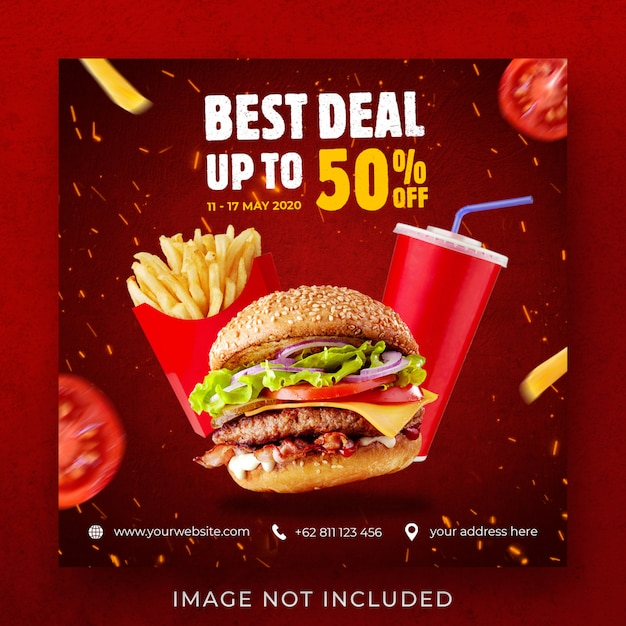 Burger Promocja Menu żywności Instagram Szablon Transparent Post Premium Psd