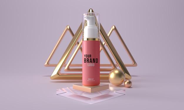 Butelka Kosmetyczna Z Makietą Dozownika. Piękno Skóry Opieki Produktu Zbiornik 3d Odpłaca Się Premium Psd