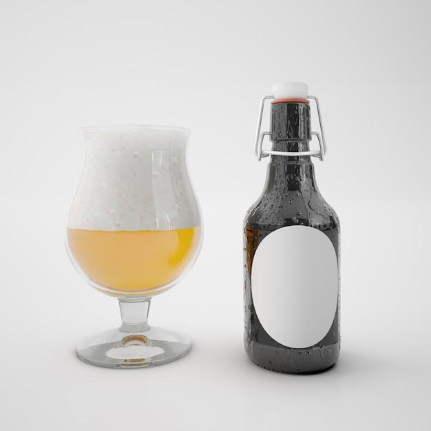 Butelka Z Pustą Etykietą I Szklanka Z Napojem Darmowe Psd