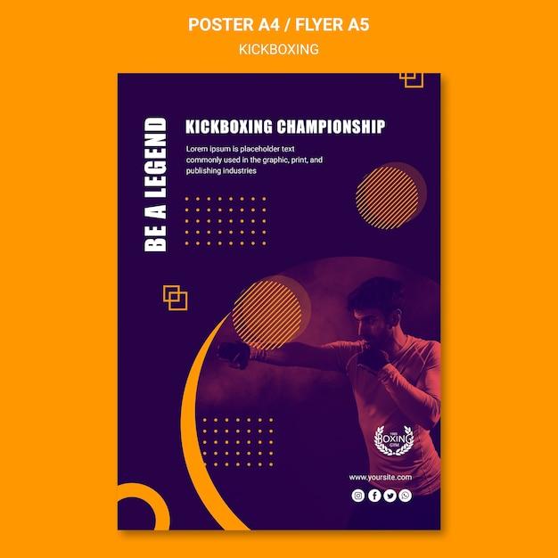 Być Legendą Szablon Plakatu Kickboxing Darmowe Psd