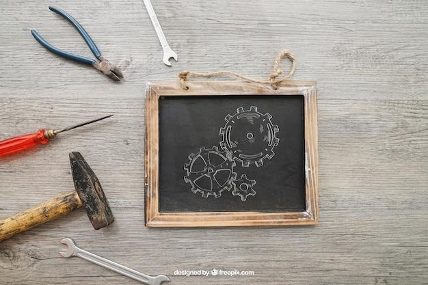 Chalkboard I Narzędzia Na Drewnianych Tekstur Darmowe Psd