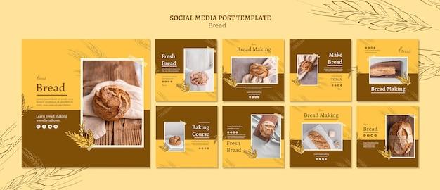 Chleb Robiąc Posty W Mediach Społecznościowych Darmowe Psd