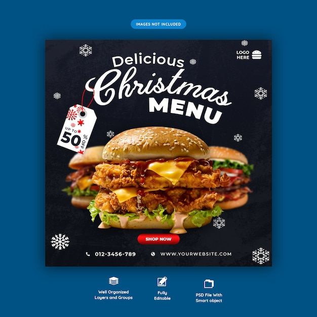 Christmas Burger Menu Szablon Mediów Społecznościowych Premium Psd Premium Psd