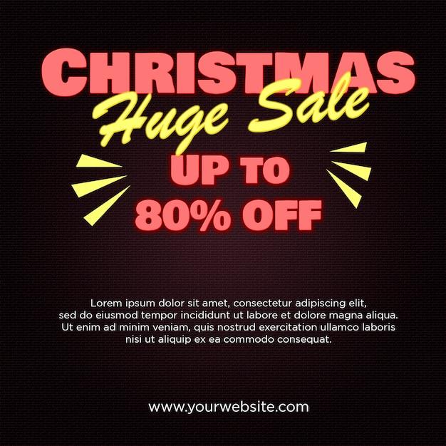 Christmas huge sale banner 80% zniżki w stylu neonowym Premium Psd