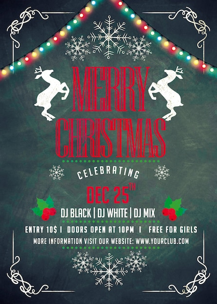 Christmas party poster Premium Psd