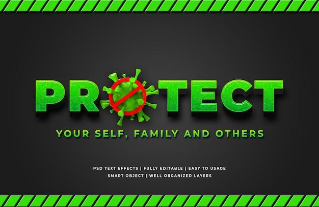 Chroń Efekt Corona Virus 3d Text Style Effect Premium Psd