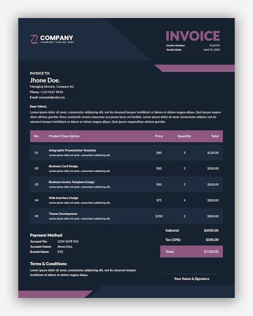 Ciemnofioletowy Szablon Faktury Biznesowej Premium Psd