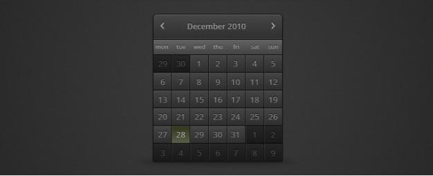 Ciemny kalendarz psd Darmowe Psd