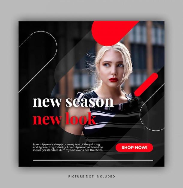Ciemny sexy czerwony nowoczesny dynamiczny czysty prosty instagram post szablon lub baner kwadratowy Premium Psd
