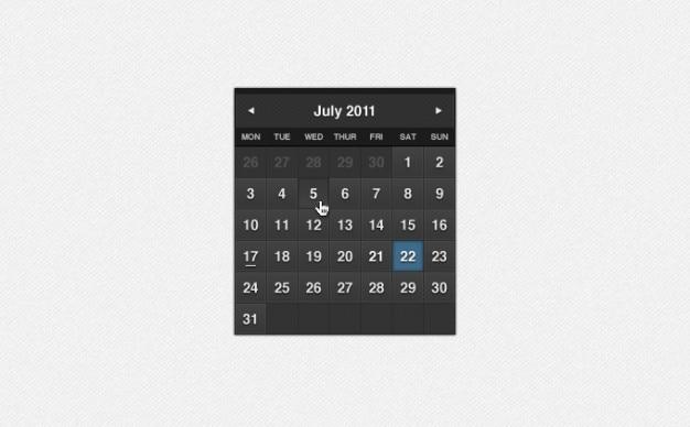 Ciemny uroczyste kalendarz psd Darmowe Psd