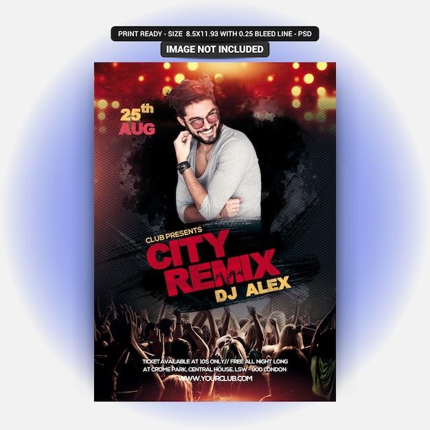City remix party flyer Premium Psd