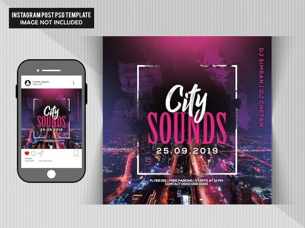 City sounds party flyer Premium Psd