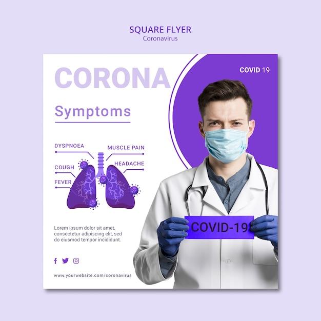 Coronavirus Kwadratowy Projekt Ulotki Darmowe Psd