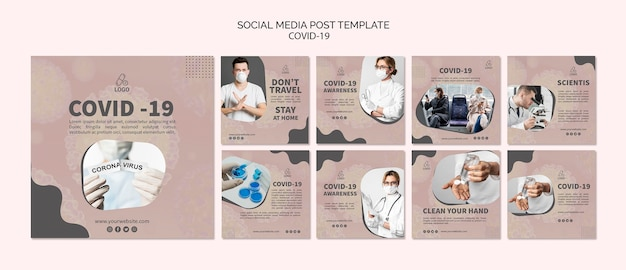 Covid-19 I Maskuj Post W Mediach Społecznościowych Darmowe Psd