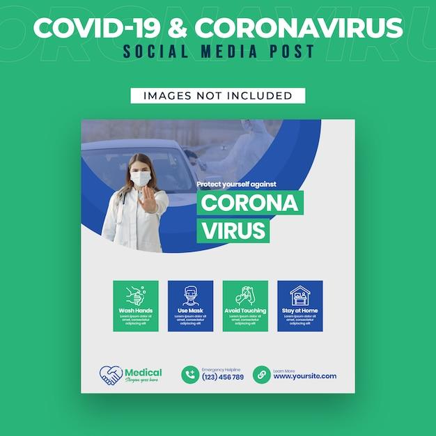Covid-19 I Ulotka Coronavirus Media Społecznościowe Premium Psd