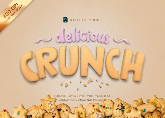 Crunch Cookie Food Tekst Efekt Wydruku Szablonu Premium Psd