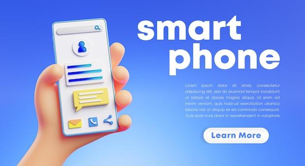 Cute Rendering 3d Trzyma Rendering Telefonu Premium Psd