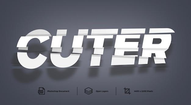 Cutter Text Effect Szablon Projektu Efekt Stylu Premium Psd