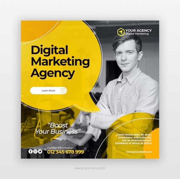 Cyfrowy Biznes Marketing Kwadratowy Baner Internetowy Premium Psd