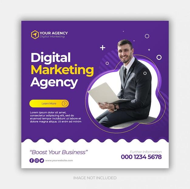 Cyfrowy Biznes Marketing Społecznościowy Post Lub Kwadratowy Baner Internetowy Premium Psd
