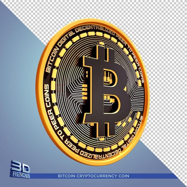 Czarna Złota Moneta Bitcoin Kryptowaluta Renderowania 3d Na Białym Tle Premium Psd