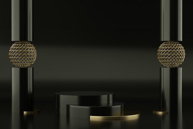 Czarne I Złote Podium Do Prezentacji Produktu Premium Psd